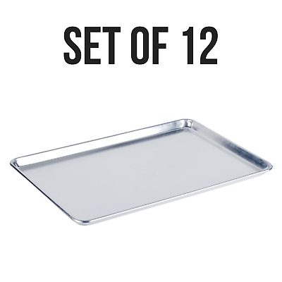 """12 PACK Aluminum 18"""" x 26"""" Bun Sheet Baking Pan Wire Rim Commercial Cookie Tray"""
