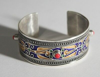 FREE SHIPPING Berber Silver Moroccan Tribal Antique Ethnic Bracelet Vintage 03