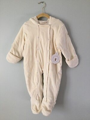 ce1783c99 Burts Bees Baby 12 Months Bunting Snow Suit Organic Cotton Off-White Cream  NWT