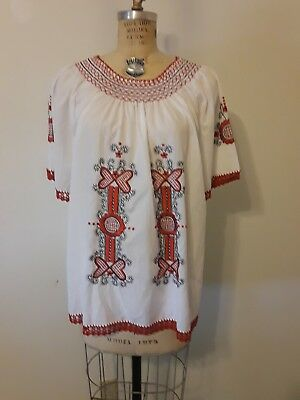 Vintage European Hand Embroidered Womans White & Red Top Plus Size