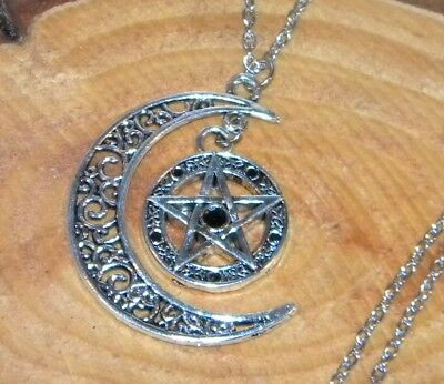 Wicca Crescent Moon with Pentacle Pendant  *SALE*