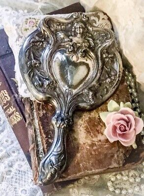 Antique Art Nouveau Repousse HAND MIRROR High Relief SILVER PLATED Beveled LADY