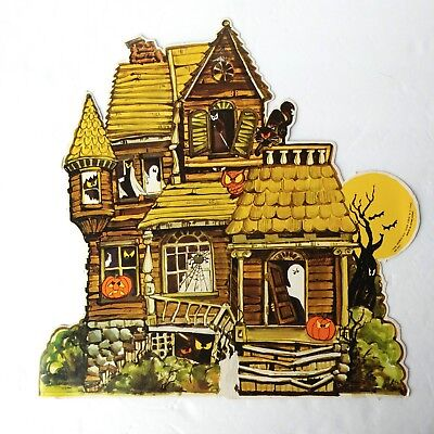 Vtg Halloween Fun World Div Haunted House Die Cut decoration no. 9411