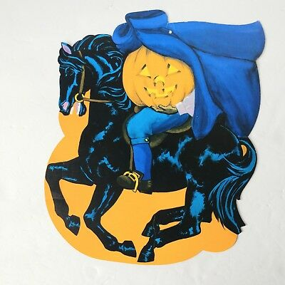 Vintage Halloween Headless Horseman JOL Die Cut decoration