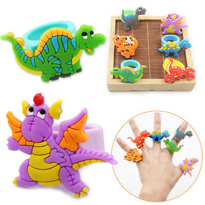 2/10Pcs Cartoon Dinosaur Finger Ring Soft PVC Jewelry Children Favour Gifts