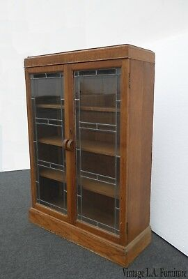 Antique French Country Oak Display Cabinet Bookcase w Stained Glass Art Deco
