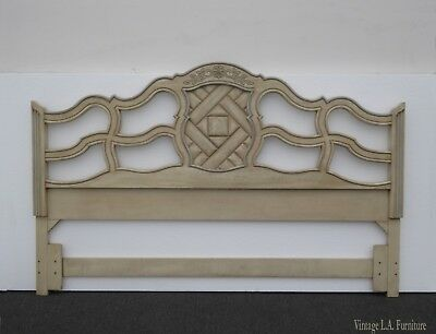 Vintage French Country Off White King Headboard Chic Shabby