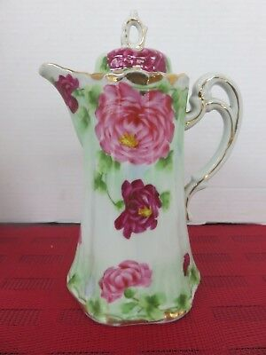 Vintage Nippon Japan Porcelain BEAUTIFUL FLORAL Coffee Tea Pot Hand Painted