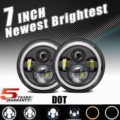 """Pair 7"""" Inch Round LED Headlights Projector Hi/Lo FOR Chevrolet C10 1977-1980"""