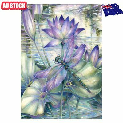 Flower Dragonfly 5D Full Drill Diamond Painting Embroidery Cross Stitch Decor MN