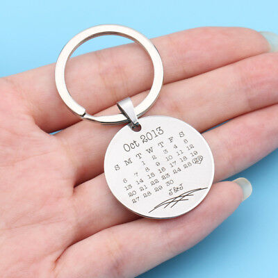 Personalized Date and Initial Keychain Round Calendar Keyring Anniversary Gifts