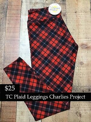 8e25ae2025b2fe Brand New With Tags TC Black / Red Plaid Leggings Charlies Project Fits:16-