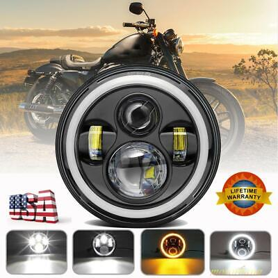 """7"""" Inch Round CREE DRL LED Headlight Hi / Lo Beam For Harley Davidson Motorcycle"""