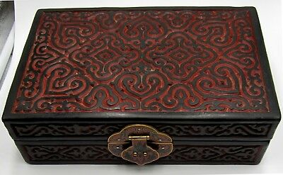 Unique vintage Chinese Song dynasty style cinnabar jewelry box