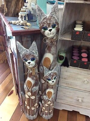 Bali - Set of 3 Timber Cats -100, 80 and 60cm
