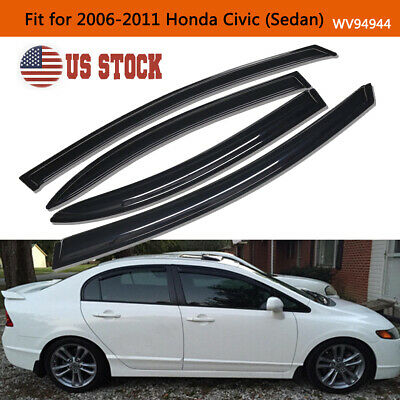 4PC Smoke Window Vent Visor Sun Rain Wind Guards For 2006-2011 Honda Civic Sedan