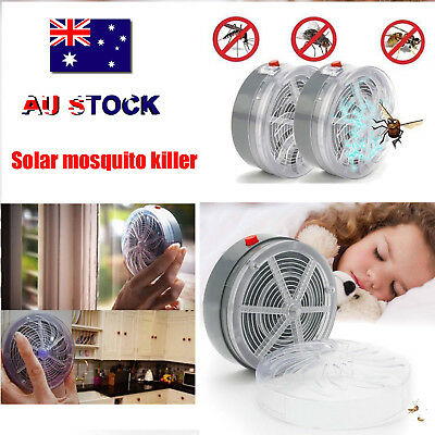 Outdoor Solar Powered Mosquito Fly Bug Insect Zapper Killer With Trap Lamp Light