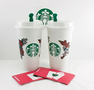 2 Starbucks Valentine Love Hearts & Roses 2019 Reusable Drink Cup with Discount