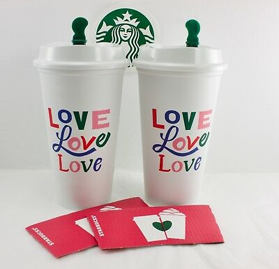 Lot of 2 Starbucks Love 2018 Reusable Drink Cup BPA Free
