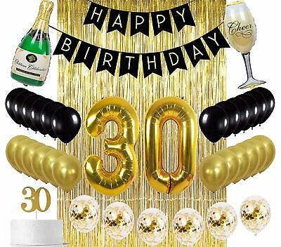 30th Birthday Decorations Black Gold 30 Party Supplies Dirty Thirty