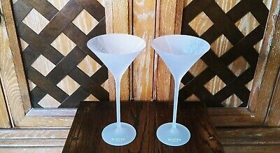 Belvedere Vodka Frosted White Long Stem Martini Glasses Silver Tree Design 9""