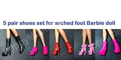 5 pair set Mattel Barbie Doll Shoes/Boots for Arched Foot for Barbie Dress New B