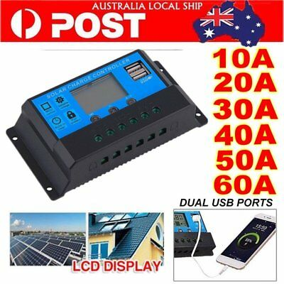 12V/24V 10A -60A Solar Panel Battery Regulator Charge Controller PWM LCD Display