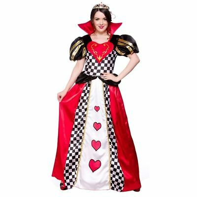 Red Adult Ladies Queen Costume Easter Party Outfit Fancy Dress Hearts Halloween