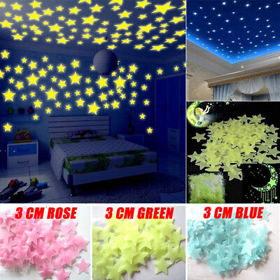 100pcs Fluorescent Glow In The Dark Stars Wall Stickers For Home Bedroom Decors