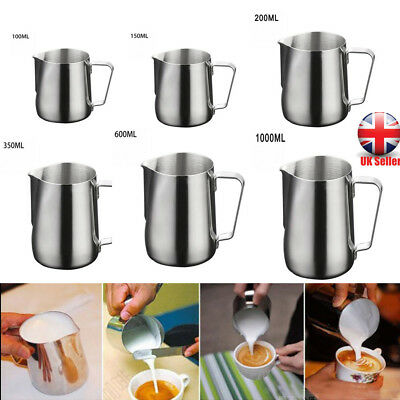 Stainless Steel Milk Frothing Jug Coffee Latte Container Metal Pitcher UK TK