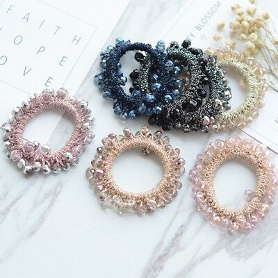 Women Charm Crystal Beads Pearl Hair Band Rope Elastic Scrunchie Ponytail Holder