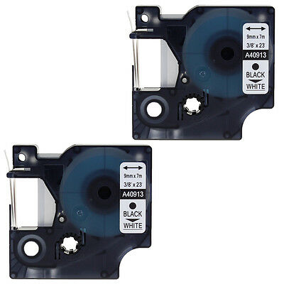 2pk Label Tape Compatible for Dymo 40913 S0720680 Black on White LabelManager