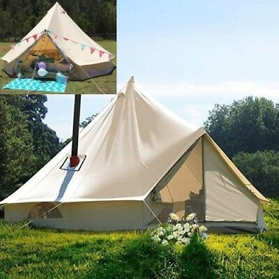 3M Waterproof Canvas Bell Tent Glamping Hunting Camping Tent Yurt Stove Jack