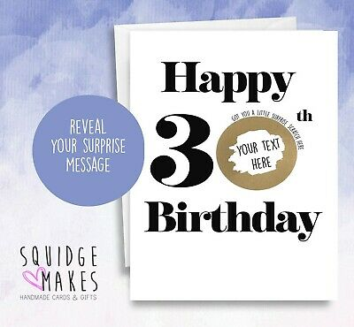 Personalised 30th Birthday Scratchcard * Gift Surprise Reveal * Scratch off card