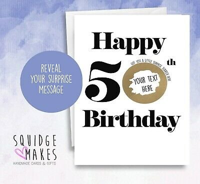 Personalised 50th Birthday Scratchcard * Gift Surprise Reveal * Scratch off card