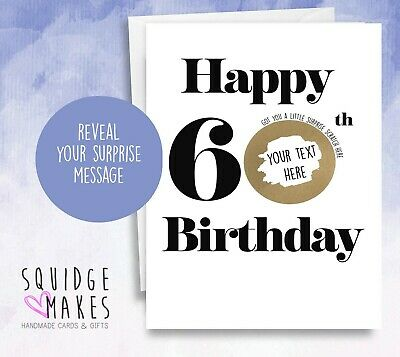 Personalised 60th Birthday Scratchcard * Gift Surprise Reveal * Scratch off card
