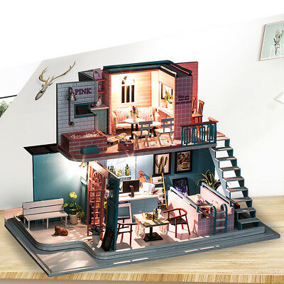 Dollhouse Miniature DIY Kit Cafe W/Cover Wood Toy Doll House Cottage W/LED light