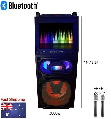 """NEW 2000W Portable Rechargeable Bluetooth PA Speaker DJ 15"""" Subwoofer w/ Screen"""