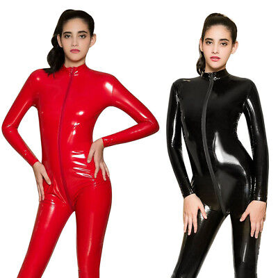 e695f042cd8 Hot Women Sexy Latex Leather Playsuit Jumpsuit Bodysuit Catsuit Lady  Clubwear P7