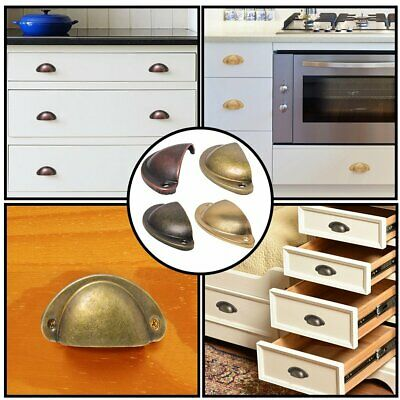 10Pcs Cupboard Door Cabinet Cup Drawer Furniture Antique Pull Shell Handle UK