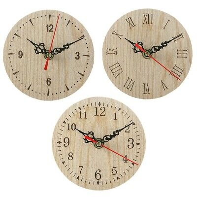 1x Retro Vintage Style Wooden Round Small Wall Clock Quiet Numerals Quartz