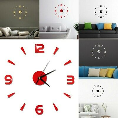 Large Wall Clock Big Watch Decal 3D Stickers Roman Numerals DIY Modern Room CHL