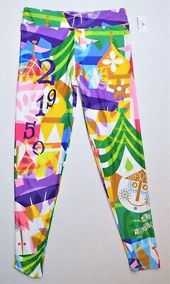 Disney Parks Exclusive Its Small World Clock Theme Leggings Sz Small S NEW CUTE