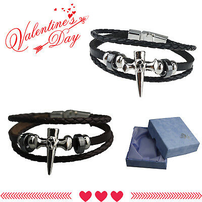 Valentine Gift Friendship Genuine Leather Braided Bracelet Wristband Men Lady UK