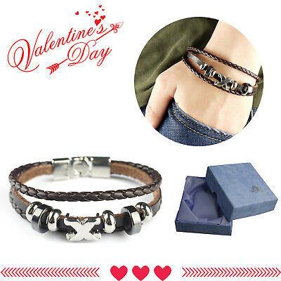 Men Ladies Genuine Leather Bracelet  Braided Wristband Bangle Valentine' Gifts
