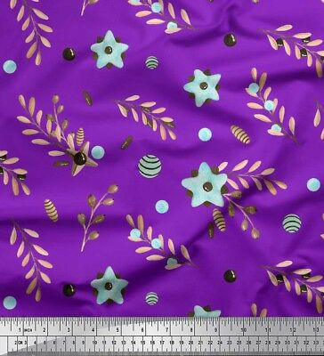 Soimoi Fabric Berry & Ash Seeds Leaves Printed Craft Fabric by the Yard - LF-64D
