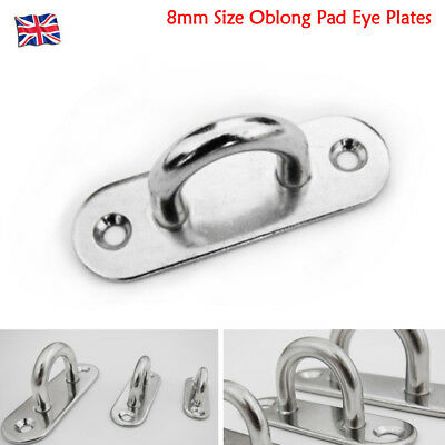 2X 8mm Size Oblong Pad Eye Plates Staple Stainless Steel Marine Boat Pad Eye