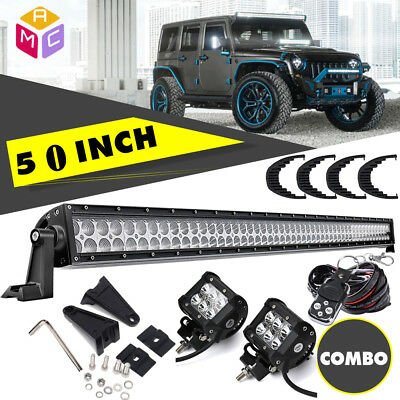 "50"" inch LED WORK LIGHT BAR COMBO + 4"" CREE PODS OFFROAD JEEP TRUCK 4WD SUV"