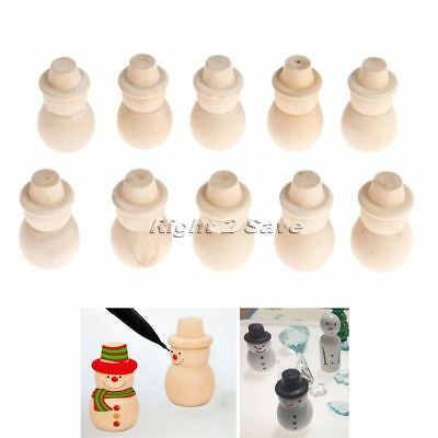 10pcs Unpainted Blank Wooden Peg Dolls Snowman Crafts DIY Toy Creative Kid Toy