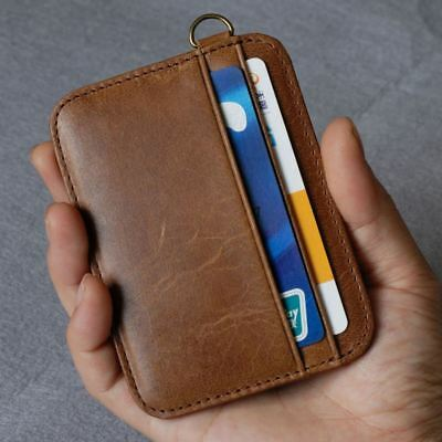 Mens Genuine Real Leather Slim Thin Credit Card Holder Case Mini Wallet New